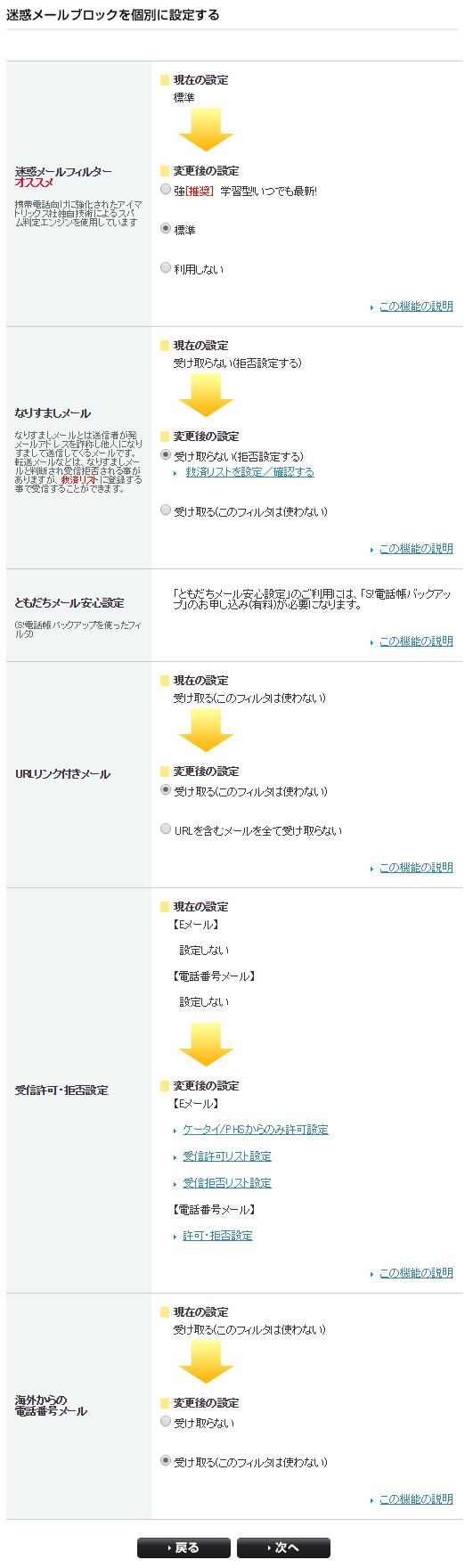 Softbankの迷惑メールフィルタ「個別設定」を利用する