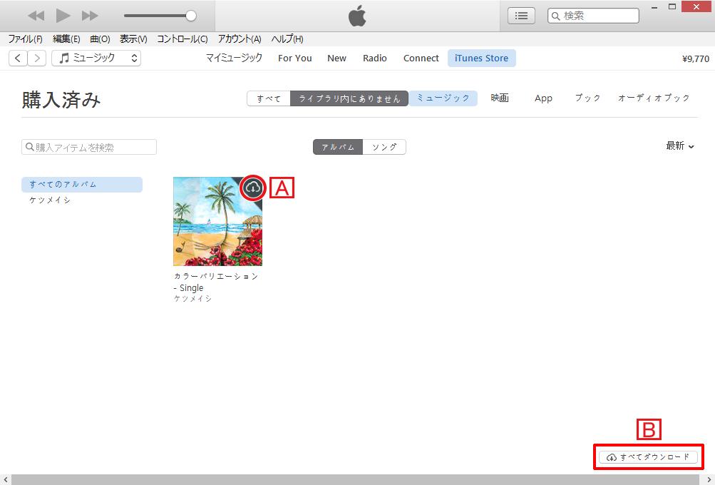 iTunes Storeの購入済み一覧に