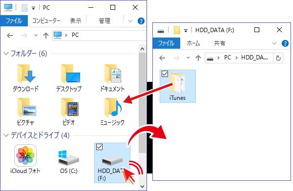 HDDにコピーした[iTunes]フォルダを新しいPCのミュージックフォルダにコピー