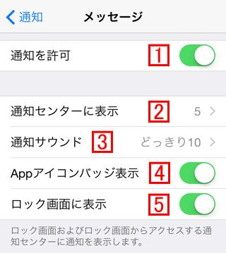 iPhoneのメッセージアプリの通知設定その1
