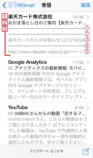 iPhone メール一覧表示で5行を指定した場合のイメージ