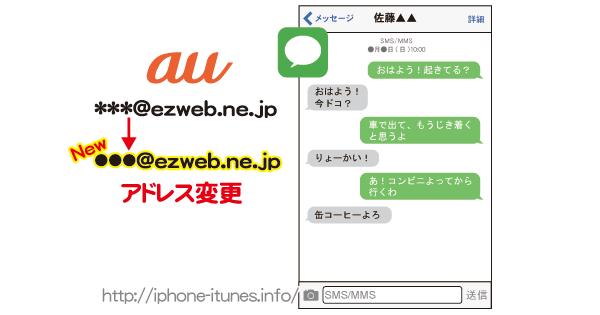 メッセージappに設定した@ezweb.ne.jpアドレスを変更