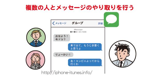 メッセージAppで複数の人とグループチャット