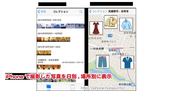 iPhoneで撮影した期日ごとに写真を表示/撮影場所を地図上に表示