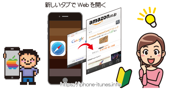 Safariのリンクを新しいタブで開く|iPhoneの使い方