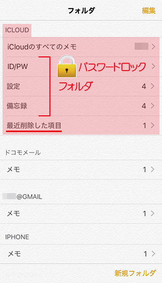iPhoneでフォルダ分け,パスワードロックした場合のイメージ