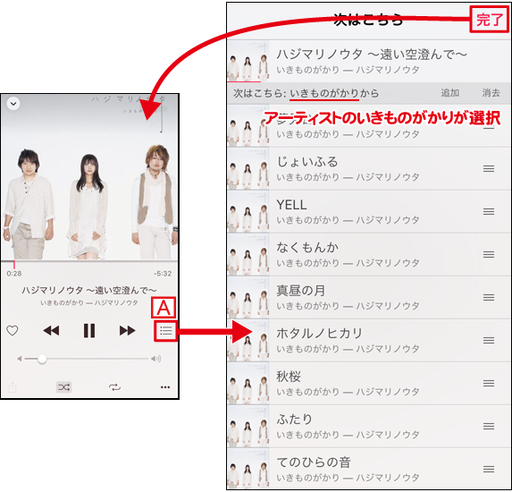 iPhoneの音楽の再生順リストを表示する