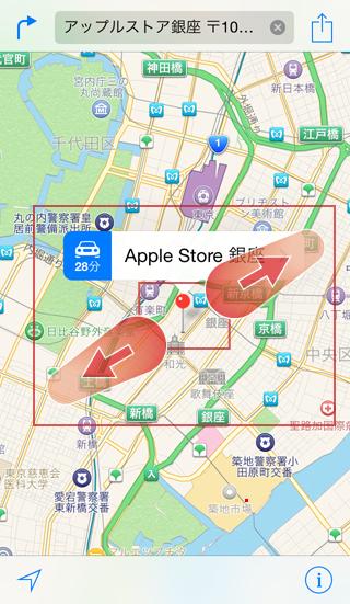 マップAppは地図をピンチアウトで拡大表示,ピンチインで縮小表示できる