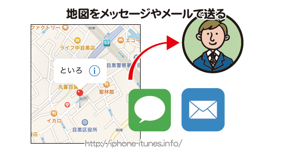 iPhoneのマップ情報をメッセージAppやメールで送る