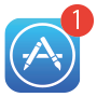 iPhoneiPhoneのホーム画面のApp Storeアイコンにバッジが表示