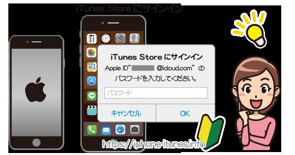 [iTunes Storeにサインイン]というメッセージにが出る