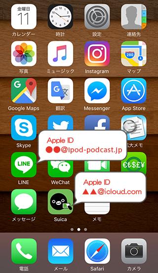 ホーム画面にあるアプリは入手したApple IDが異なるアプリが存在