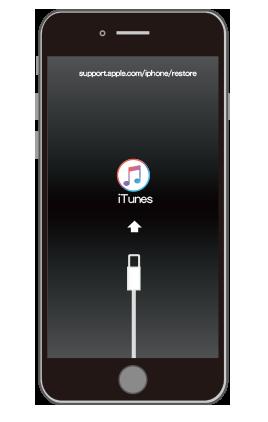 iTunesと接続されるとリカバリーモードでiPhoneが起動