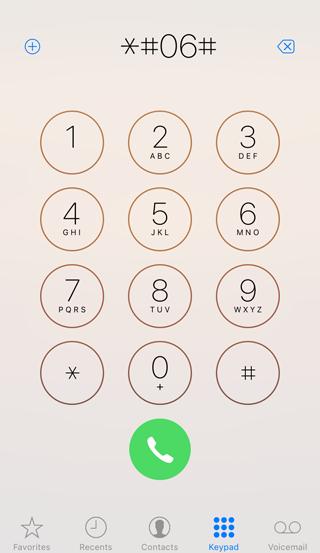 iPhoneで*#06#を入力する