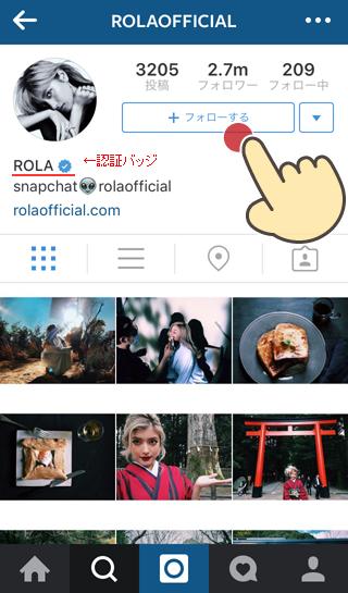 Instagramで有名人,ブランドが本物の場合,認証バッジが付く