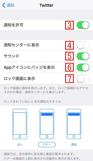 iPhoneのTwitterの通知設定を確認する