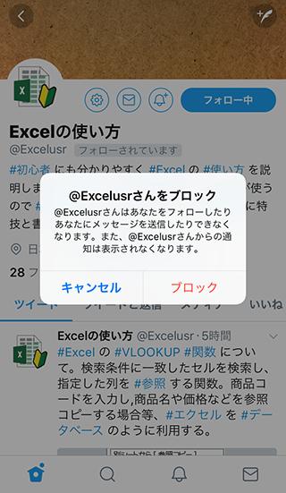 Twitterアカウントをブロックした際の制限内容が表示