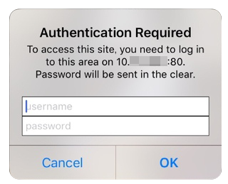 iPhoneのAuthentication Requiredというエラー